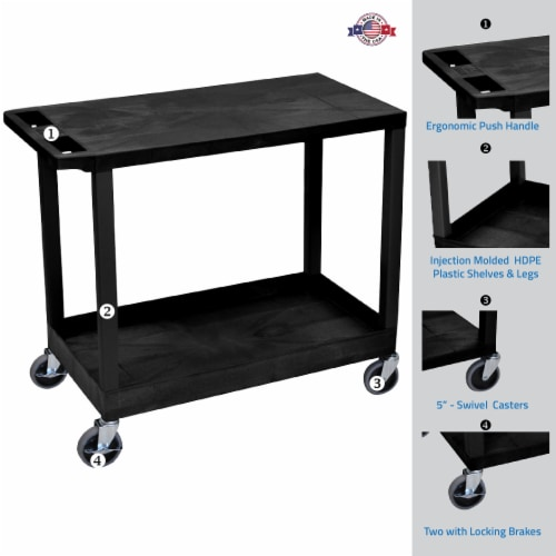 """Luxor 32"""" X 18"""" Cart - One Tub/One Flat Shelves - Black Perspective: back"""