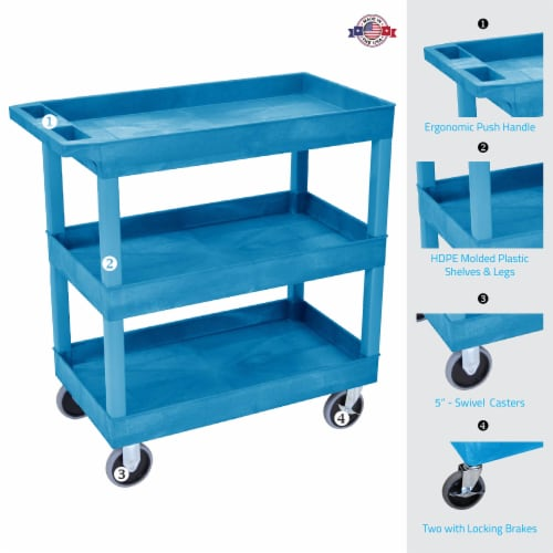 Luxor HD High Capacity 3 Tub Shelves Cart in Blue Perspective: back