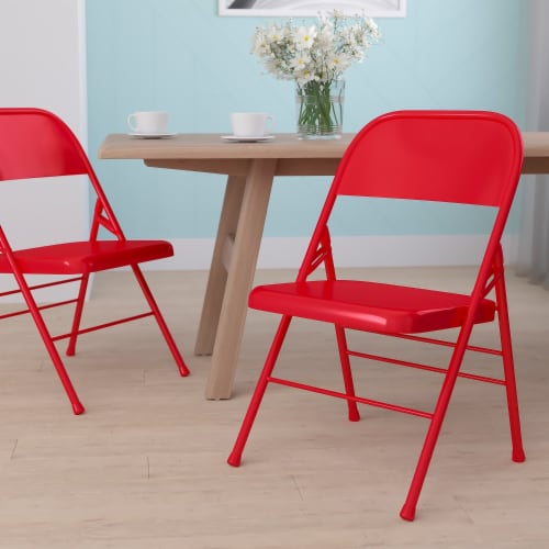 Red Metal Folding Chair Perspective: back