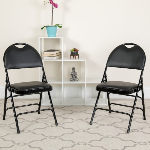 Black Vinyl Folding Chair Perspective: back