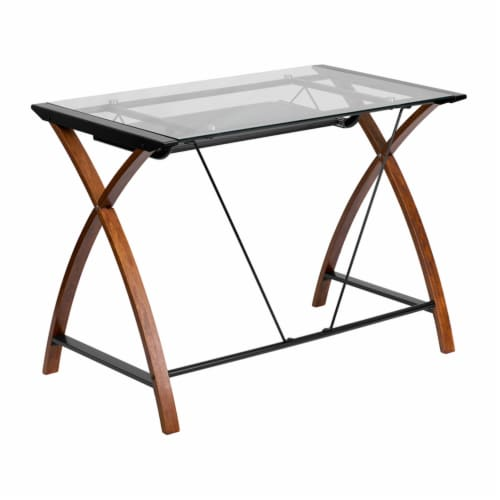 Flash Furniture Glass Computer Desk with Pull-Out Keyboard Tray and Crisscross Frame Perspective: back