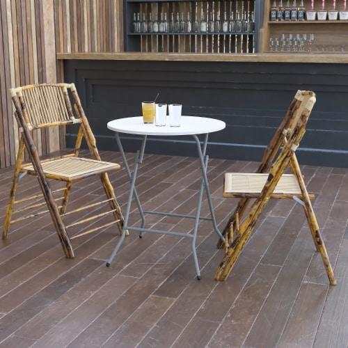 Flash Furniture 24  Round Granite White Plastic Folding Table Perspective: back