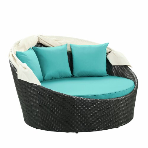 Siesta Canopy Outdoor Patio Daybed - Espresso Turquoise Perspective: back