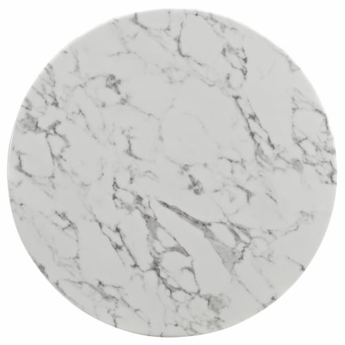 """Lippa 36"""" Round Artificial Marble Dining Table - White Perspective: back"""