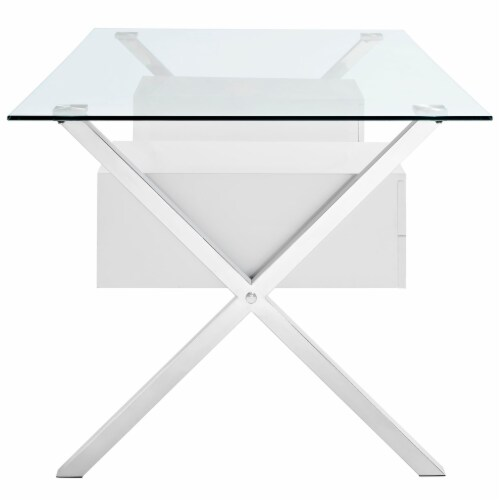 Abeyance Glass Top Office Desk - White Perspective: back