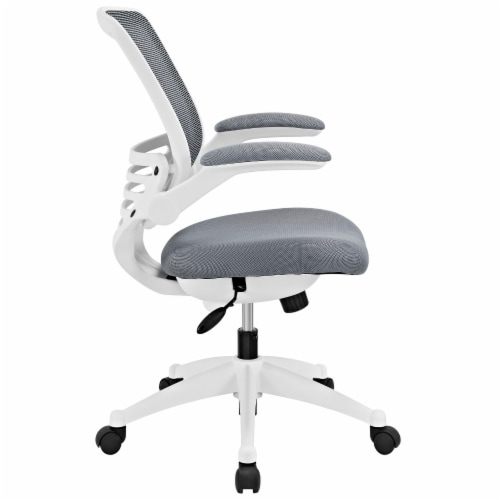Edge White Base Office Chair - Gray Perspective: back
