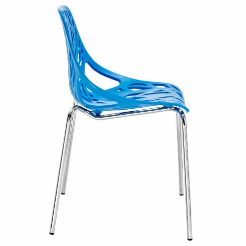 Stencil Dining Side Chair Set of 4 - Blue Perspective: back