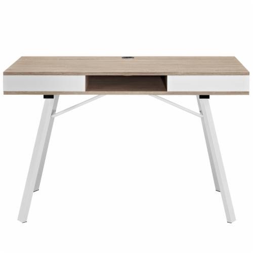 Stir Office Desk - Oak Perspective: back