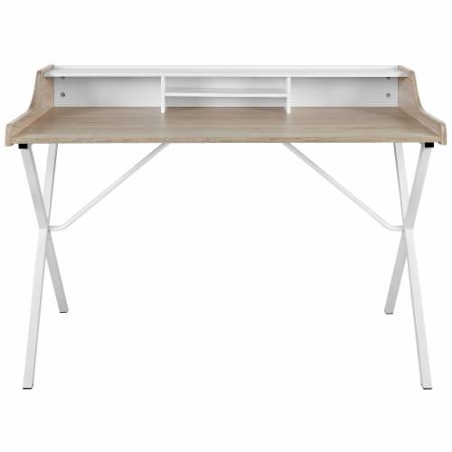 Bin Office Desk - Oak Perspective: back