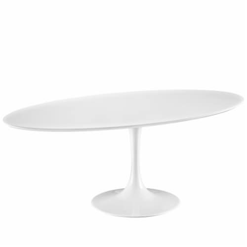 """Lippa 78"""" Oval Wood Top Dining Table - White Perspective: back"""