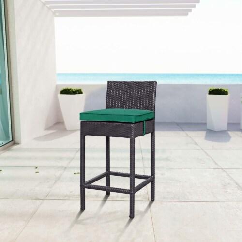 Convene Outdoor Patio Fabric Bar Stool - Espresso Green Perspective: back