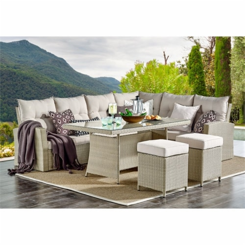 Canaan All-Weather Wicker Outdoor Set with Sofa Loveseat Table and 2 Stools Perspective: back
