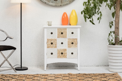 """Elegant Home Fashions Gozo 32"""" Accent Cabinet 2 Doors 1 Drawer White ELG-655 Perspective: back"""