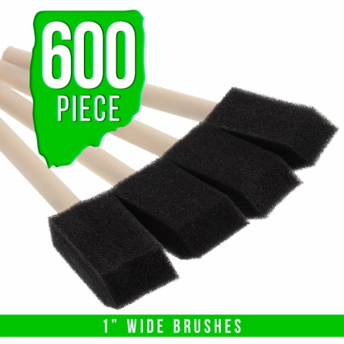 1 inch Foam Sponge Wood Handle Paint Brush Set (Full Case of 600) - Lightweight and durable Perspective: back