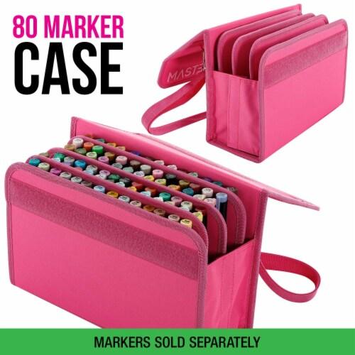 Master Marker 80 Slot Premium Nylon Marker & Lipstick Storage Case Hot Pink Perspective: back