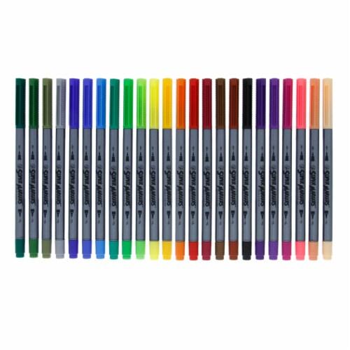 24 Color Brush Tip & Fineliner Twin Tip Marker Set - 0.7mm Fineliner & Fine Artist Brush Tip Perspective: back