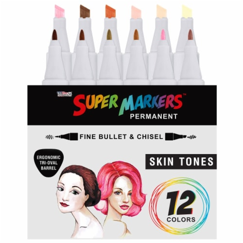 12 Color Skin & Hair Tones Dual Tip Set - Fine Bullet & Chisel Point Art Markers Perspective: back