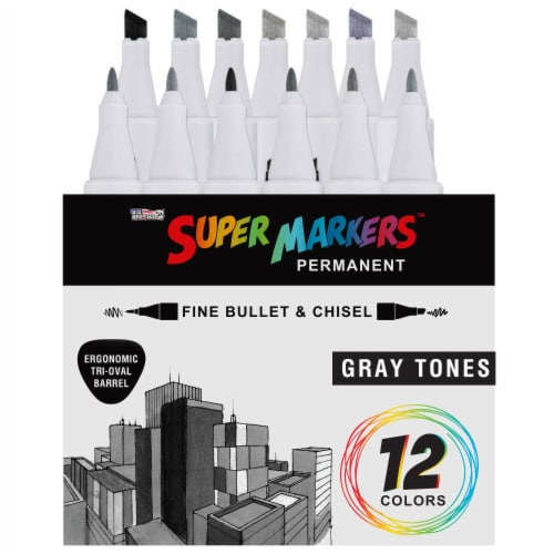 12 Color Gray Tones Dual Tip Set - Fine Bullet & Chisel Point Art Markers, Ergonomic Barrels Perspective: back