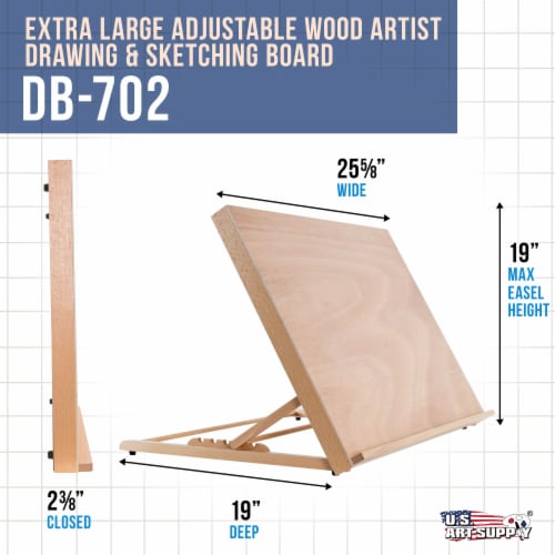 X-Large 25-5/8  Wide x 19  Tall (A2) Artist Adjustable Wood Drawing Sketching Board Perspective: back