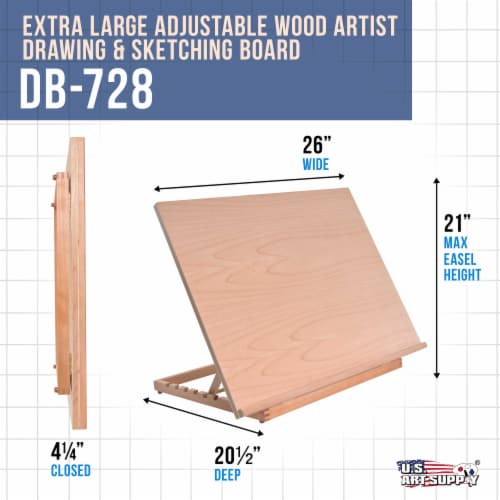 Extra Large Adjustable Wood Artist Drawing & Sketching Board 26  Wide x 21  Tall Perspective: back