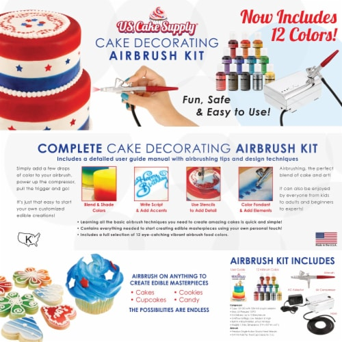 Complete Cake Decorating Airbrush Kit with a Full Selection of 12 Vivid Airbrush Food Colors Perspective: back