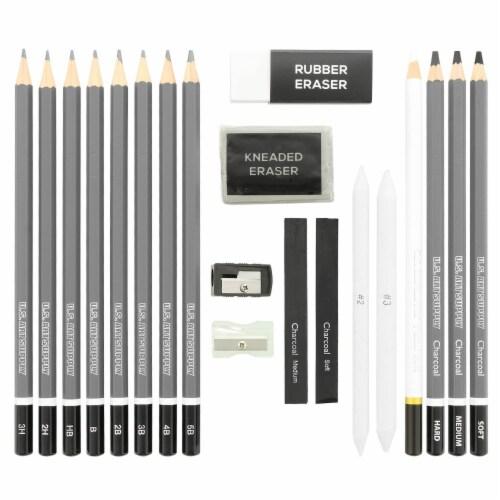 20 Piece Artist Sketch Set with Storage Case - Sketch & Charcoal Pencils, Pastel, & Stumps Perspective: back