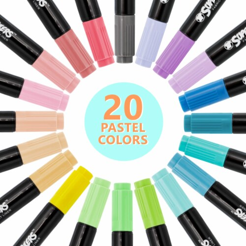 20 Pastel Colors Dual Tip Fabric & T-Shirt Marker Set - Chisel Point and Fine Point Tips Perspective: back