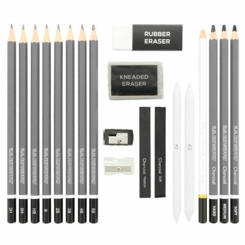 20-Piece Artist Sketch Set with Storage Case - Sketch & Charcoal Pencils, Stumps & Paper Pads Perspective: back