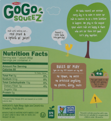 GoGo SqueeZ Gimme Five Applesauce Pouches Perspective: back