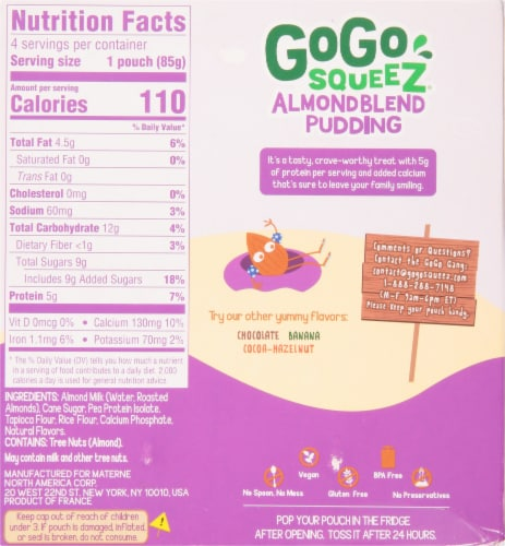 GoGo Squeez Almond Blend Vanilla Pudding Perspective: back