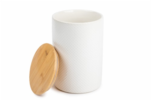 Core Home Large Textured Canister - White Perspective: back