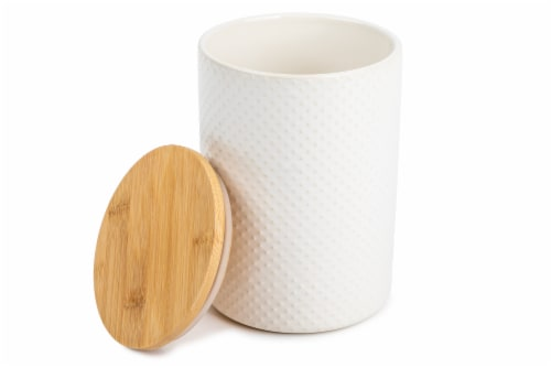 Core Home Medium Textured Canister - White Perspective: back