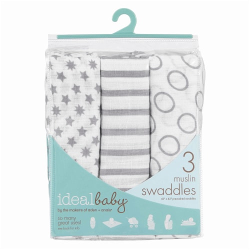 ideal baby Star Print Muslin Swaddle Blanket - 3 Pack - White/Gray Perspective: back