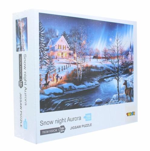 Snow Night Aurora 1000 Piece Jigsaw Puzzle Perspective: back