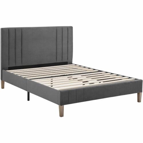 Classic Brands Chicago Tufted Upholstered Platform Bed Frame, Full, Dark Grey Perspective: back