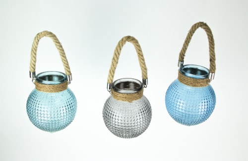 Set of 3 Hobnail Beaded Glass  Tealight Candle Lanterns with Rope Handles Perspective: back