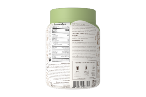 KOS Chocolate Chip Mint Flavor Plant Protein Powder Perspective: back
