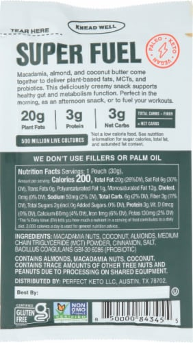 Super Fat Macadamia MCT + Probiotic Perspective: back
