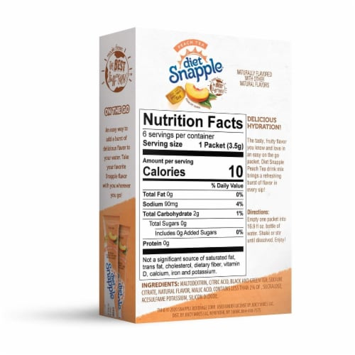 Diet Snapple Peach Powdered Drink Mix Packets Perspective: back