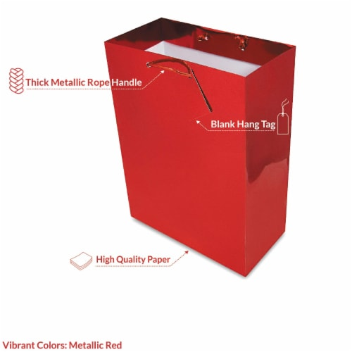 Red Foil Gift bags with Handles, Designer Solid Red Paper Gift Wrap Bags Perspective: back