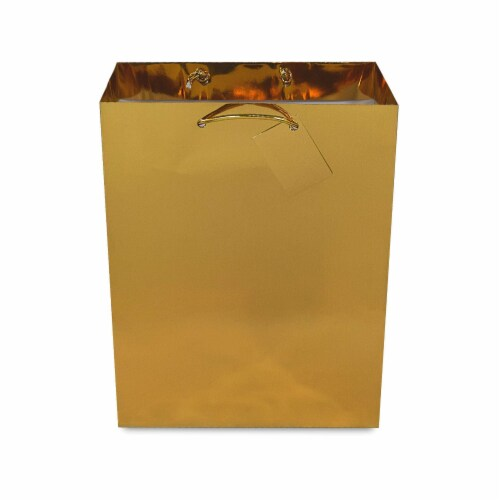 Gold Foil Gift bags with Handles, Designer Solid Gold Paper Gift Wrap Bag Perspective: back