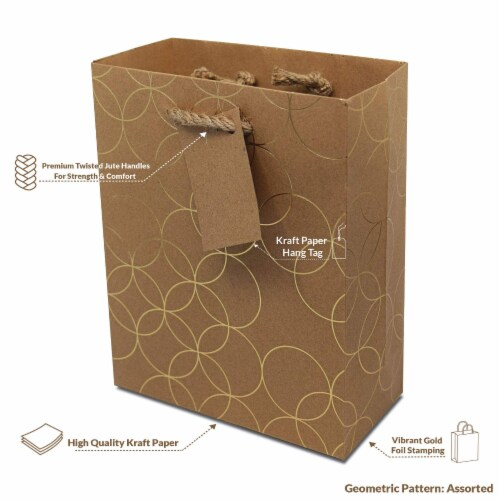 Designer Gift Bags with Handles, Gold Geometric Chevron, Stripe Prints with Jute Handles Perspective: back