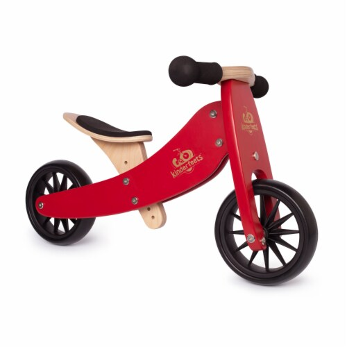 Kinderfeets Tiny Tot Toddler 2-in-1 Balance Bike and Tricycle, Cherry Red Perspective: back