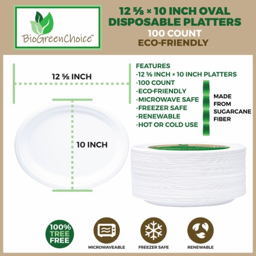 """12 5/8"""" x 10"""" Eco-Friendly Disposable Platter (100 Count) Perspective: back"""