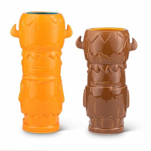 Geeki Tikis The Flintstones Mug Set | Fred & Barney Tiki Mugs | Holds 28 Ounces Perspective: back