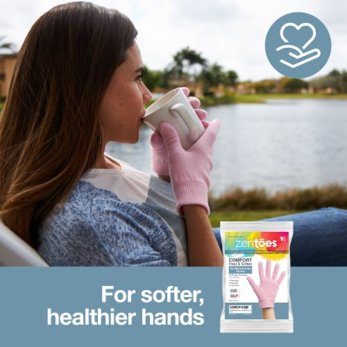 ZenToes Moisturizing Gloves - Dry, Cracked Skin Healing Treatment - 1 Pair (Cotton Pink) Perspective: back