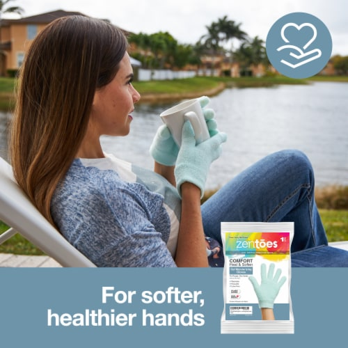 ZenToes Moisturizing Gloves - Dry, Cracked Skin Healing Treatment - 1 Pair (Fuzzy Mint Green) Perspective: back