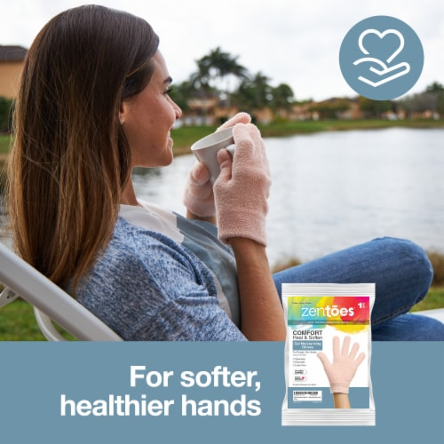 ZenToes Moisturizing Gloves - Dry, Cracked Skin Healing Treatment - 1 Pair (Fuzzy Peach) Perspective: back
