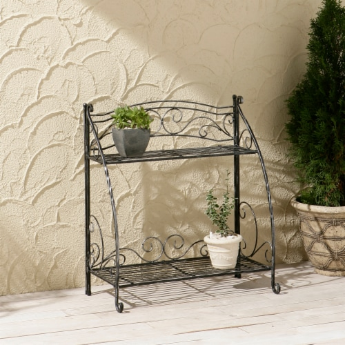 Folding Plant Stand 2 Shelf Perspective: back