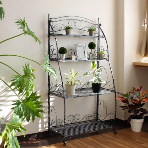 Folding Plant Stand 4 Shelf Perspective: back